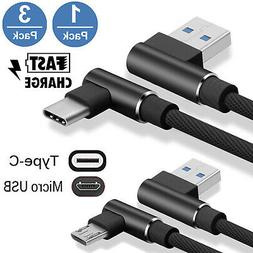3X  Braided 90° Right Angle Adapt  Type C/Micro USB Fast Da