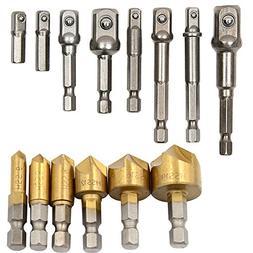 Breynet 1/4'' Hex Shank HSS 5 Flute Countersink Drill Bit Se