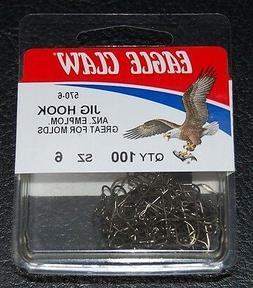100 Eagle Claw 570 Size 6 Bronze 90 Degree Light Jig Hooks D