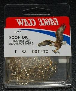 Pack of 100 Gold #1 Eagle Claw 575 Jig Hooks Do-It Jig Molds and Others