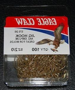 100 Eagle Claw 575 Size 2/0 Gold 90 Degree Light Jig Hooks D