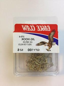 100 Eagle Claw 575 Size 6 Gold 90 Degree Light Jig Hooks Do