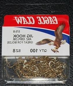 100 Eagle Claw 575 Size 8 Gold 90 Degree Light Jig Hooks Do