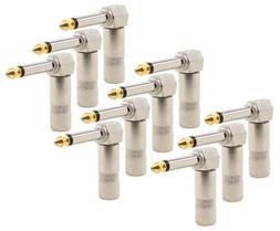 "10Pcs 1/4"" Right Angle 90 Degree Mono Plug Audio Cable Conne"