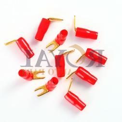 10pcs 90 Degree 8 Gauge Red Gold Crimp Spade Terminal Connec
