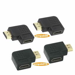 2 Combos HDMI 90 And 270 Degree Male To Female Vertical Flat