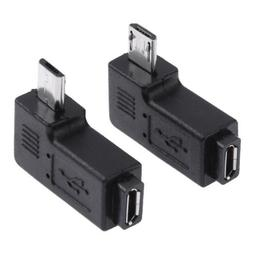 2PC Angled Micro USB Male to Female Adapter Plug Connector 9