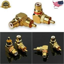2pcs 90 Degree Adapters Brass RCA Right Angle Gold Plated Co