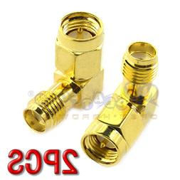 2x 90 Degree Right Angle SMA Male To SMA Female RF Connector