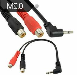 DTECH 10 ft 3.5mm to 2 RCA Audio Cable Male Male Stereo Aux Jack Cord Gold 10ft