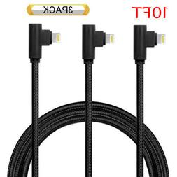 3 Pack 10FT 90 Degree iPhone Cable Right Angle lightning Cab