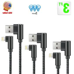 3 Pack 3ft 90 Degree iPhone Cable Right Angle lightning Cabl