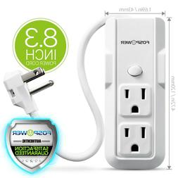 Mini Power Strip Wall 3 Outlet 8.3inch Cord Cable Extension