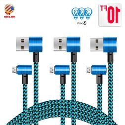 3 Pack 10ft 90 Degree Right Angle Micro USB Charger Cable fo