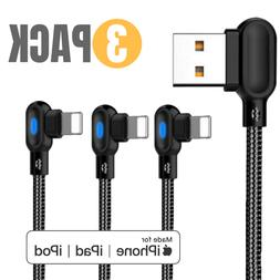 3 PACK 6FT 90 Degree Lightning Charging Cable Charger for Ap