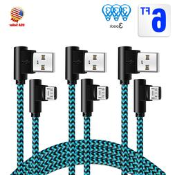 Right Angle 3 Pack 6ft long 90 Degree Micro USB Charger Cabl