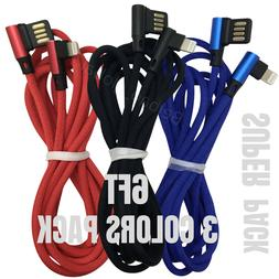 3 Pack 6Ft Lightning Cable 90 Degree iPad iPhone Charger USB