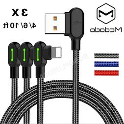 3 Pack Mcdodo 90 Degree Braided Lightning Cable LED Data Cha