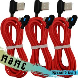 3 Pack 90 Degree Elbow Micro USB Cable Braided Charger for A
