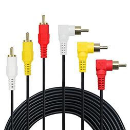 3 RCA Cable - Premium Gold Plated 90 Degree Right Angle RCA