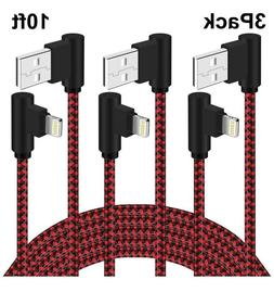 3Pack 10ft 90 Degree Right Angle USB Charger lightning Cable