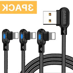 3Pack USB 90 Degree Elbow Data 6Ft Lightning Charging Cable
