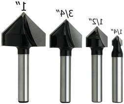 4-Piece 90 Degree V Groove Router Bits, 1/4 Inch Shank, Carb