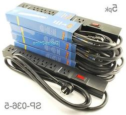 5-Pack 7 Outlet Horizontal Surge Power Strip, 90 Joules, w/
