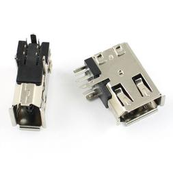 5Pcs USB 6 Pin Female Firewire Right Angle Socket Connector