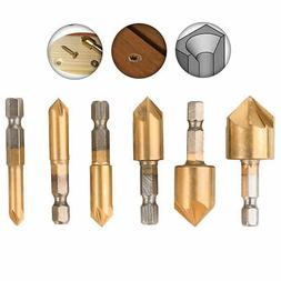 6-pack 5-Flute Countersink Drill Bit 90 Degree Center Punch