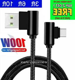 90 Degree Angle Type C Cable Charger Cord For Samsung Galaxy