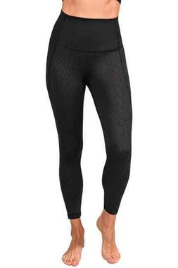 90 DEGREE BY REFLEX ANKLE LENGTH EMBOSSED BLACK  LEGGING  NE