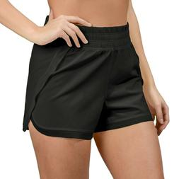 90 Degree by Reflex Woven Shorts with Mesh Contrast Black La