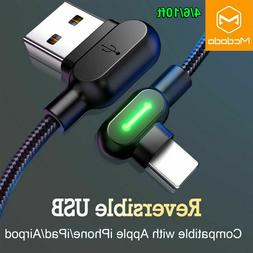 Mcdodo 90 Degree elbow LED lightning cable charger for iphon