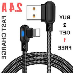90 Degree  Cable 6 Ft USB iPhone Charger Fast Charging Data