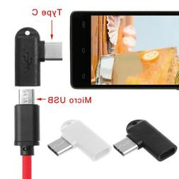 90 Degree Type C Male To Micro USB Female Data Sync Charge C