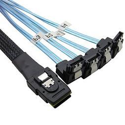 CableDeconn 1M Mini SAS 36P SFF-8087 To 4 SATA 7Pin 90 Degre