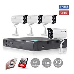 KORANG 1080P AHD 4 Channel Waterproof Surveillance System Wi