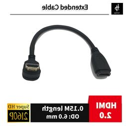 Angled 90 Degree Connector HDMI 2.0 Type A male to female Ex