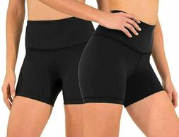90 Degree By Reflex Black High Waist Power Flex Yoga Shorts