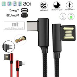 Braided 90 Degree Right Angle Type C IOS Micro USB Fast Data