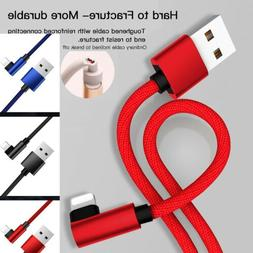 Braided 90 Degree USB Fast Charger Charging Cable Cord For A