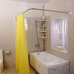 Baoyouni Curved Shower Curtain Rod Suction Cups L-Shaped Cor
