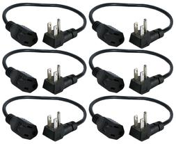 6-Pack 16 Inches 90degree Flat-Plug OutletSaver AC Power Ada