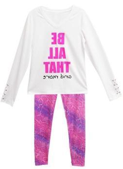 "90 DEGREE BY REFLEX Girl's Legging Set Size Large 12-14 ""Be"