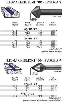 Whiteside Router Bits 1502 V-Groove Bit with 90-Degree 1/2-I