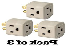 3-Pack Grounded 3-Outlet Tap, 3-Outlet Wall Tap Grounding Ad