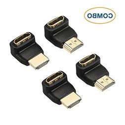 DIZA100 4-Pack HDMI Right Angle Connectors,2-Pack 90 Degree