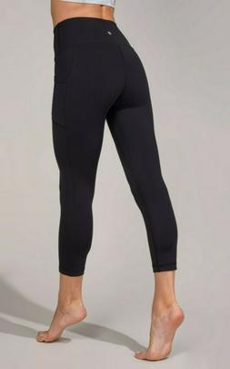 90 Degree By Reflex Interlink High Waist Pocket Black Capri
