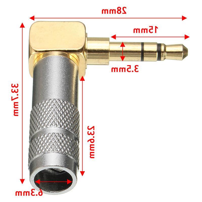 LEORY 1/2/5/10Pcs 3.5mm 3 Pole Male <font><b>degree</b></font> Audio Connector Solder